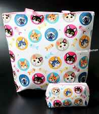 CAT TOTE BAG KITTY CAT CUTE TOTE LARGE  WITH COSMETIC BAG TRAVEL BEACH REUSABLE