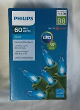 NEW Philips 60 Mini String Smooth LED Christmas Lights - Blue