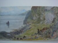 WALTER SEVERN, BRITISH, WATERCOLOUR, SHEPHERD AND FLOCK ABOVE LOCH LOMOND SIGNED