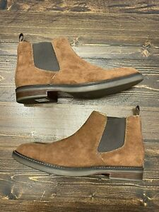 Clarks Paulson Up Dark Tan Suede Leather Men's Chelsea Boots, Size 11, Brand New