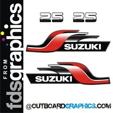 Suzuki 25hp 2 stroke outboard engine decals/sticker kit