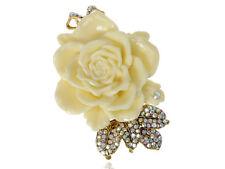 Antique Gold Tone Cream Enamel Vintage Rose Flower Leaf Bow Brooch Pin