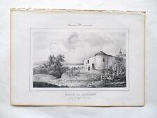 Lithographie Originale XIXème - Église de Toulenne - Langon - Mlle R. Maugé