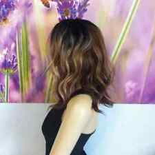 Ombre Mixed Brown with  Blonde highlights wavy wig 17''' heat resistant.