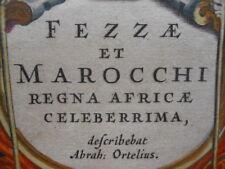 Map : W J Blaeu & A Ortelius, Fezzae & Marocchi Morocco, Antique Original 1643 }