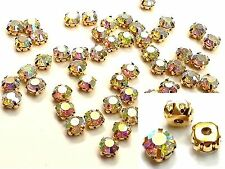 50 x 8mm Glass SEW ON Gold Set Montees AB Crystal DIAMANTE Rhinestone CRAFT Dres