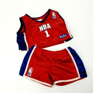 Build A Bear NBA Outfit Basketball Jersey Trunks Red Blue Clothes Toy Sports BAB