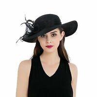 Women's Organza Wide Brim Floral Kentucky Derby Church Dress Tea party Hat T236