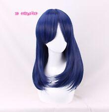 Dawn hair Dark Blue 50cm long straight Cosplay Wig +a wig cap