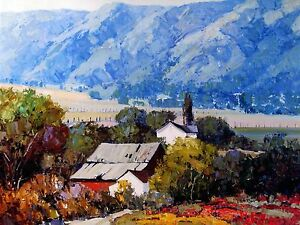 """Kent Wallis, """"Mountain Farm"""", poster, 24""""hx32""""w image, available signed/unsigned"""