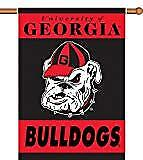 NCAA Georgia Bulldogs 2 Sided 28 by 40 Inch House Banner Bulldog Logo With Pole