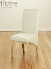 Bonded Leather PU Dining Chairs Scroll Back Oak Leg Living Room Restaurant Ivory