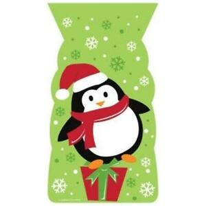 Penguin Shaped Cello Treat Bags w/Ties 20 Pack Winter Christmas Party Decoration