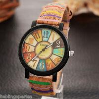1 Damenuhr Armbanduhr Quarzuhr Multifarbe Lederband Analog L/P M23157 Geschenk