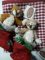 """Ganz Cottage Ornament PURR IN BOOT Beige 6"""" by Lorraine Chien Lot of 2 Christmas"""