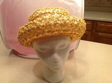Vintage Ladies Hat Woven Straw Hat Buttercup Yellow W/ Netted Accent on Brim