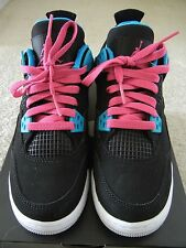"AUTHENTIC NEW AIR JORDAN RETRO 4 IV YOUTH GS SZ 4 ""SOUTH BEACH"" BLACK PINK BLUE"
