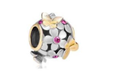 PUGSTER Pink Crystal Butterfly Charm 22k Gold >NEW<