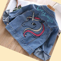 Girls kids Denim Jacket Sleeves Jeans Outwear Autumn School Unicorn Age 2-7 yrs