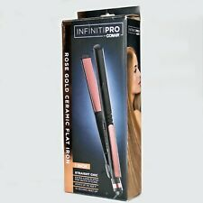 """InfinitiPro by Conair 1"""" Straight Chic Rose Gold Ceramic Flat Iron Heats to 455"""