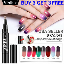 8 Colors One Step Temperature Change Nail Gel Polish Pen Manicure Top Base Coat