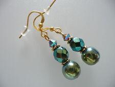 Vintage Art Deco Crystal Carnival Glass & Green Hematite Not So Long Earrings