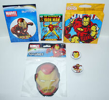 Marvel's Iron Man Gift Pack/Stocking Stuffer Lot - Magnets/Coasters/Pins