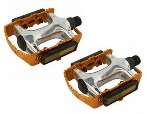 """ROAD MTB 940 Alloy Pedals 9/16"""" Gold cruiser 9/16 pedal.fixie bicycle pedal"""
