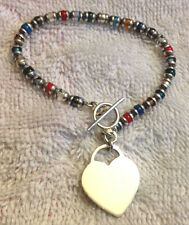 "Sterling Silver Multi-Color Heart Charm Toggle Bracelet 7"""