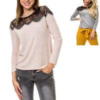 Only Damen Feinstrick Pullover Strickpullover mit Spitze Damenpullover Pulli %