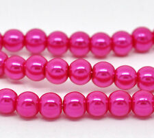 """6mm HOT PINK FUCHSIA Round Glass Pearls long 32"""" strand about 145 beads bgl0021"""