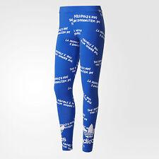 nwt~Adidas TREFOIL AOP GRAPHIC LEGGINGS Tight Yoga Gym Running Pants~Womens sz L