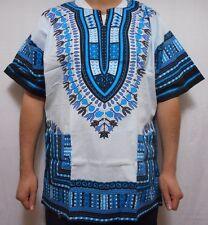 African Men Shirt Dashiki Poncho Mexican Hippie White Turquoise Tribal Free Size