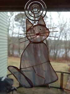 Stained Glass Blue Cat Suncatcher