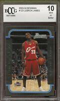 2003-04 Bowman #123 LeBron James Rookie Card BGS BCCG 10 Mint+