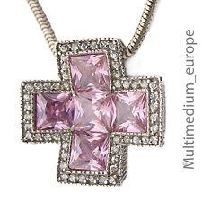 Sterling Silber Kreuz Anhänger Zirkonia silver pendant 925 rosa weiß pink white