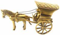 HORSE & BUGGY CART CARRIAGE RUNNING WHEELS HANDMADE BRASS STATUE TOY HOME DECOR