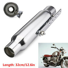 "12"" Silver Motorcycle Exhaust Pipe Short Exhaust Tip Rear Tail Tube Universal x1"