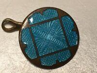 Antique Guilloche Turquoise Enamel Button, 2 Designs, Brass Outline KING Design