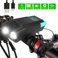 Rechargeable USB Bike Headlight LED Bicycle Front Head Light Cycling With Horn