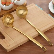 Stainless Steel Cooking Tool Golden Matt Polish Long Handle Soup Ladle Skimmer