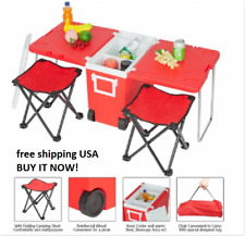 Multi Function Portable Rolling Cooler for Picnic Camping w Table& 2 Chairs Blue