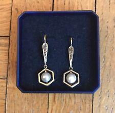 STUPENDI ORECCHINI ANTICHI IN ORO 18 K Con Perle E Rosette Di Diamanti