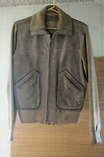 Vintage 1970s Suede Leather Knit Jacket Tan Mens Medium