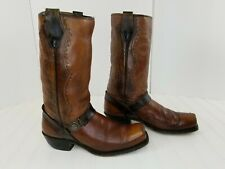 ACME MENS VINTAGE BROWN HARNESS LEATHER COWBOY MOTORCYCLE RIDING BOOTS SZ 8 D