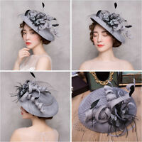 adjustable Feather Tulle Women's Wedding Party Formal Hat Prom Evening Cap Veil