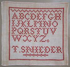 C1900 Antique Dutch Red Eyelet Stitch Alphabet Sampler Letters Signed T Snieder