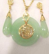 Natural Light Green Jade 18KGP Fortune Round Pendant Necklace Drop Earrings Set