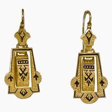 Fine Antique Victorian 14ct Gold & Black Enamel Taille D'épargne Earrings c1875