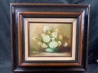"Vintage Robert Cox Original Framed And Signed Floral Oil On Wood Board 18""x16.5"""